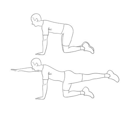 Digital illustration of a fittness man doing bird-dog