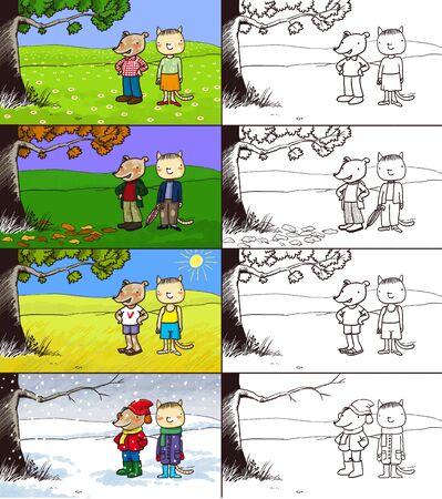 seasons: Four seasons digital illustration, children style Stock Photo