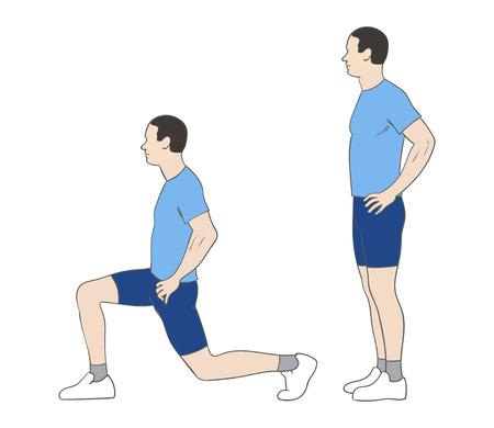 Digital illustration of a fittness man doing lunges