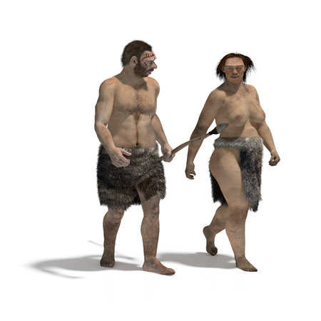 sapiens: Digital illustration of a man and a woman of neanderthal walking Stock Photo