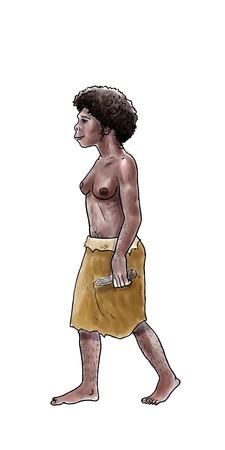 neanderthal man: Human evolution digital  illustration, homo erectus, australopithecus,sapiens