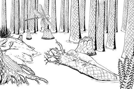 carboniferous: Devonian wildlife digital illustration, carboniferous