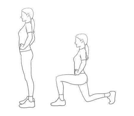 lunges: Digital illustration of a fitness woman doing lunges