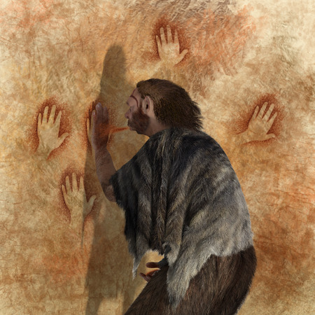 australopithecus: Digital illustration of a Neanderthal painting in a cave