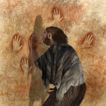 Digitale illustratie van een Neanderthaler schilderij in een grot Stockfoto