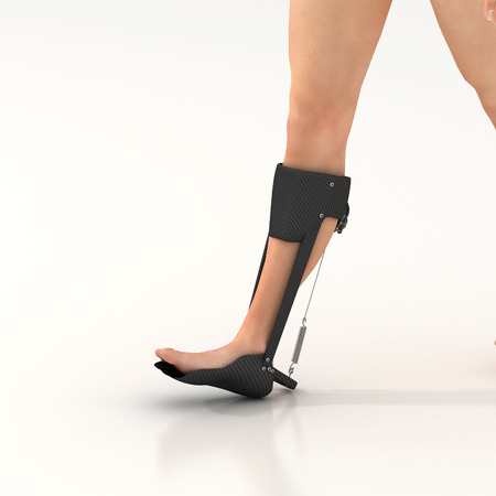 exoskeleton: 3d render of a unpowered human exoskeleton