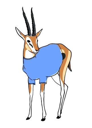 dressed: Digital sketch of a dressed gazelle
