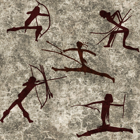 stone background: prehistoric representation of a warrior. Digital illustration Stock Photo