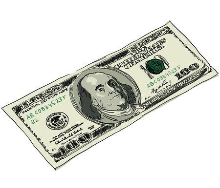 paper currency: Digital sketch of American dollar