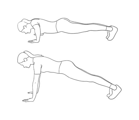 lunges: Digital illustration of a fitness woman doing push-up