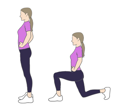 Digital illustration of a fitness woman doing lunges