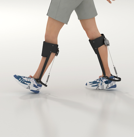 personas caminando: 3d rinden de un exoesqueleto humana sin alimentaci�n
