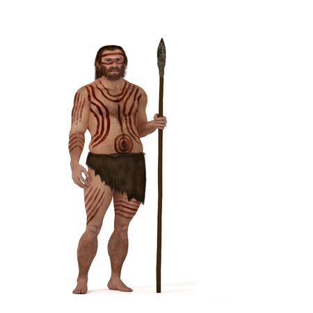 homo sapiens: Digital illustration and render of a Neanderthal man