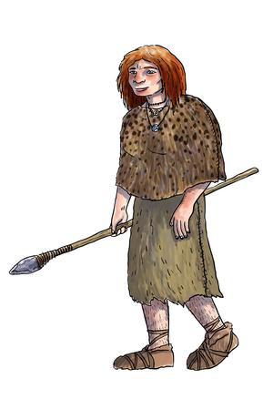 hombre prehistorico: Humano ilustración evolución digital, homo erectus, australopiteco, sapiens Foto de archivo