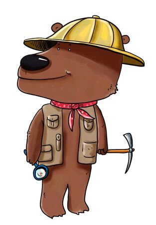 archaeologists: Digital illustration of a bear wearing archaeologists hat