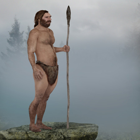 stone age: Digital illustration and render of a Neanderthal man