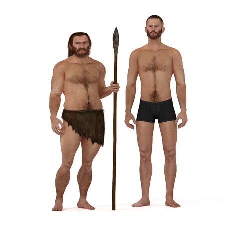Digital illustration and render of a Neanderthal man