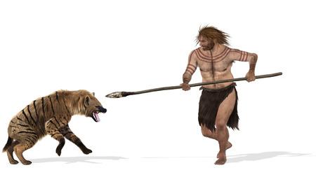 Digitale illustratie van een gevecht tussen een grot hyenna en een neanderthaler Stockfoto