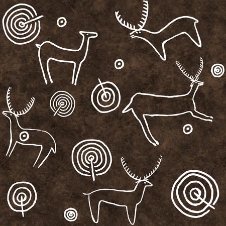 Seamless digital illustration of petroglyph