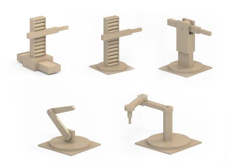 Digital illustration of robotic arms articulations