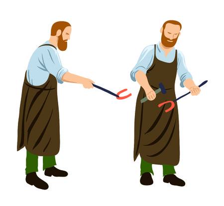 working hands: Digital illustration of a blacksmith poses Stock Photo