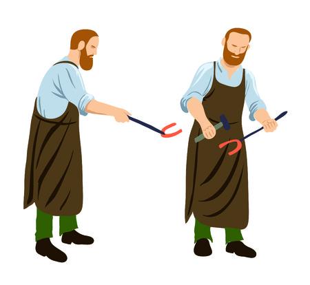 Digital illustration of a blacksmith poses 版權商用圖片