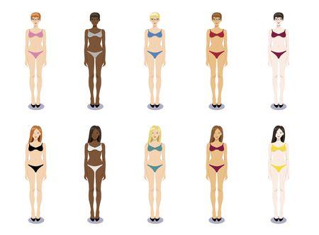 Vector set illustration of  bikini women standing