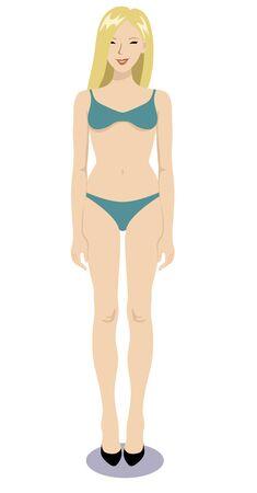 Vector illustration of a bikini woman standing