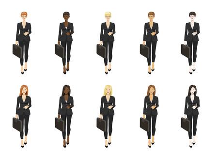 Vector set illustration of  business women standing