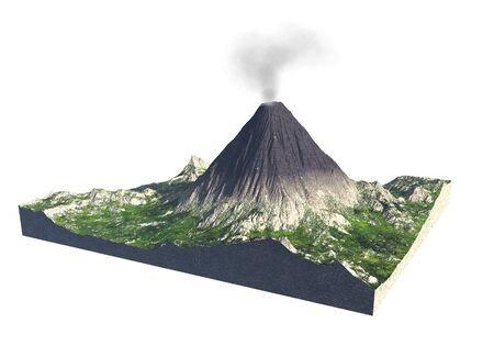 Digital  illustration of parts of a volcano 版權商用圖片