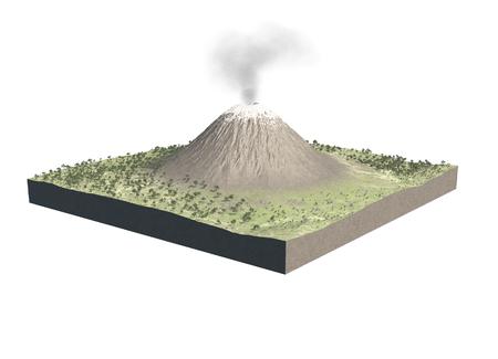 Digitale illustratie van delen van een vulkaan