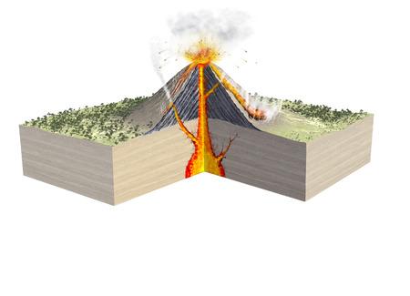 Digital  illustration of parts of a volcano Foto de archivo