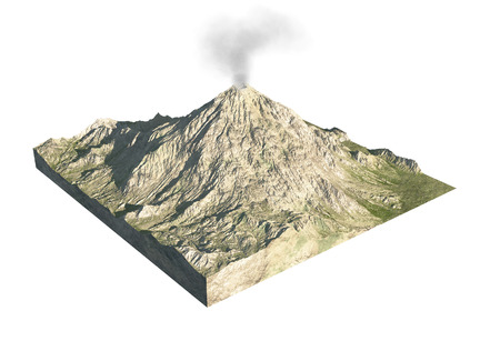 Digital  illustration of parts of a volcano Stock Photo