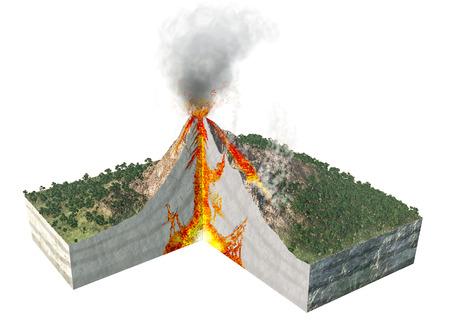 Digital  illustration of parts of a volcano Banque d'images