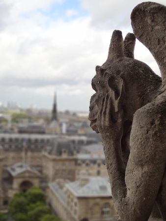 photo of gargoyle in Notre Dame - Paris. the gargoyleis watching over the people and think about the amazing beauty of the city. Tour Eiffel on the background