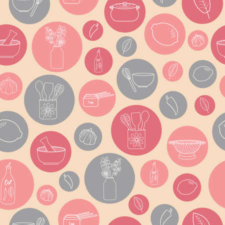 Pastel pink with bubbles kitchen theme seamless repeating pattern. Illustration