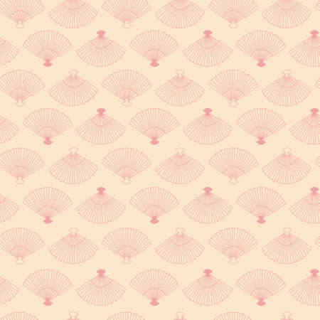 Pastel pink vintage fans two way directional seamless repeating pattern.