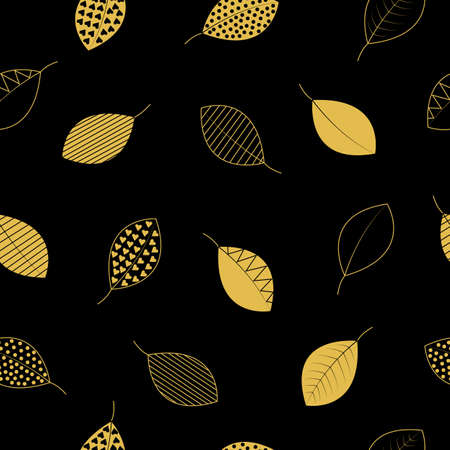 Gold decorative leaves on black background seamless repeating pattern.
