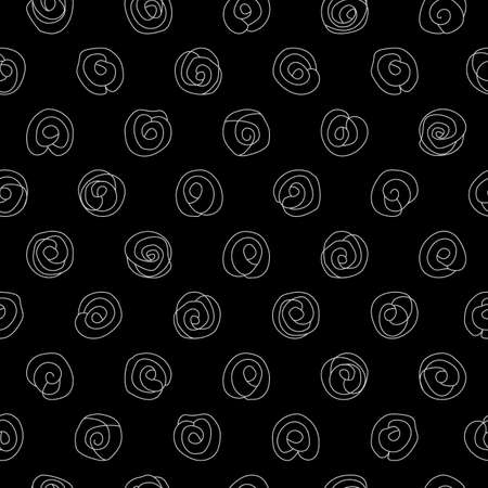 Silver doodled camellias on a black background seamless repeating pattern. 일러스트