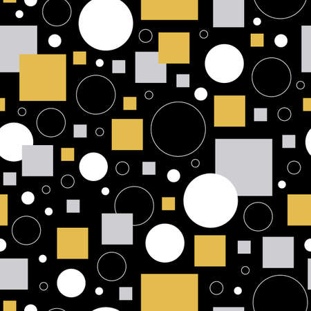 Black, gold and silver circles and squares seamless repeating pattern.