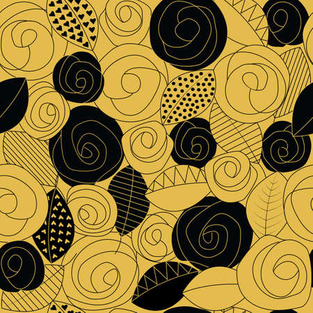 Black and gold camellias and decorative leaves seamless repeating pattern.