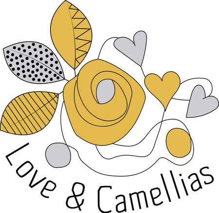 Cute gold, black and silver Love and Camellias placement print 일러스트