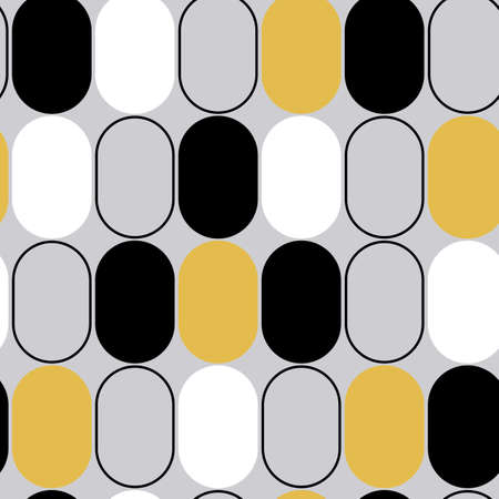 Black, white, silver and gold ovals vintage inspired seamless repeating pattern.