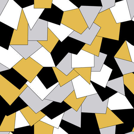 Black, white, silver and gold overlapping tiles seamless repeating pattern. 일러스트