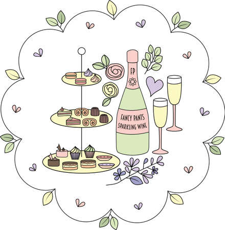 Pretty cake, pastry and sparkling wine 'High Tea' themed placement print. Beautiful vector illustration perfect for fabric, t-shirts, scrapbooks, home decor, products, cards, gifts and projects. Illustration