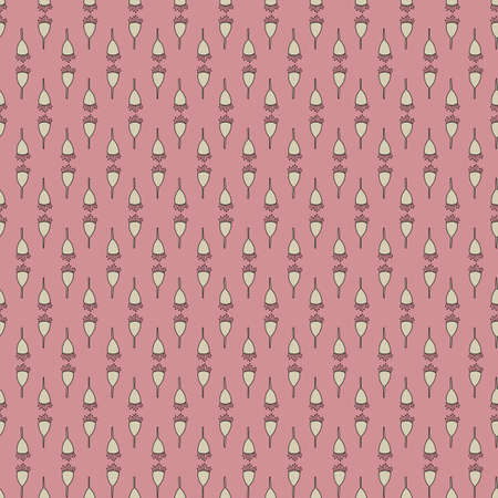 Pink and Beige Gumnut Garden Themed Seamless Repeating Pattern.
