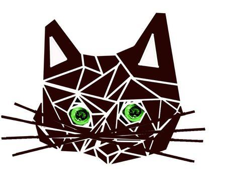 triangular eyes: Cat of illustration geometrical