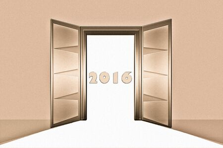 awaiting: Collection open doors Stock Photo