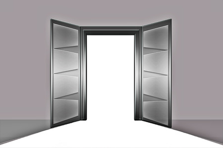 desired: Open door or open door. Blank, fully editable, designers or for any user to use the Desired. Stock Photo