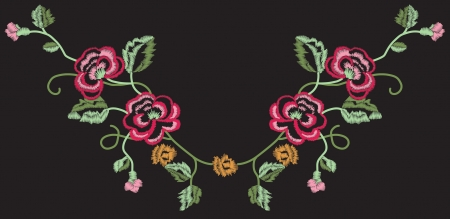 Rose Embroidery - fully editable Vector Illustration